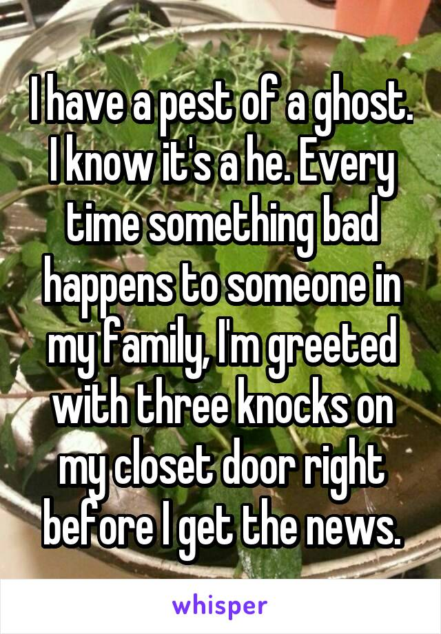 I have a pest of a ghost. I know it's a he. Every time something bad happens to someone in my family, I'm greeted with three knocks on my closet door right before I get the news.