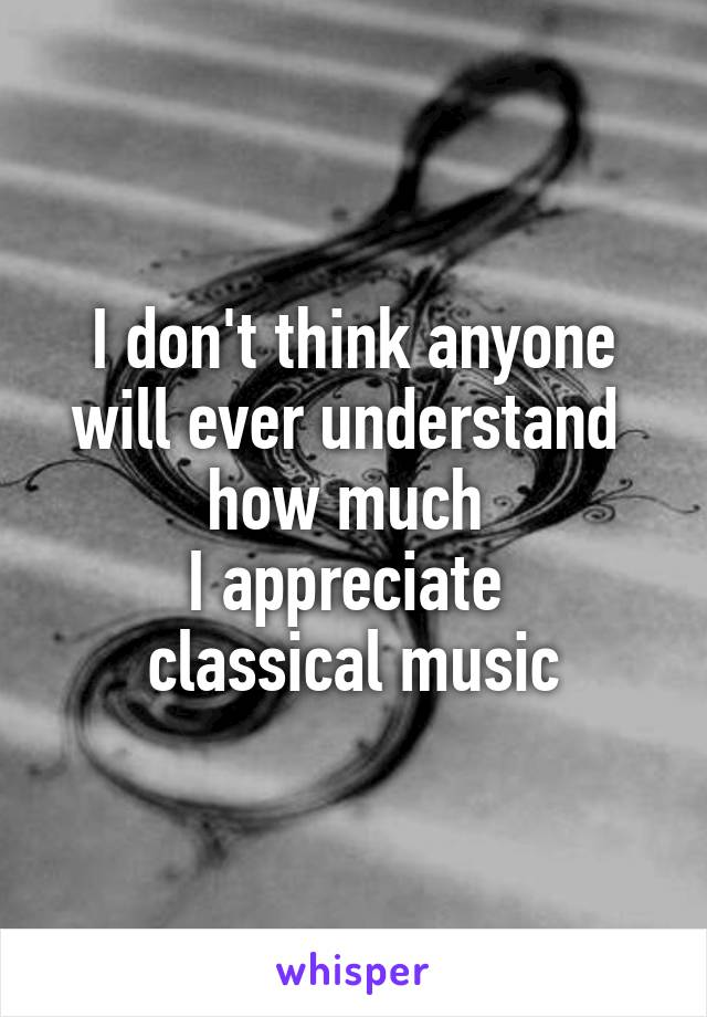 I don't think anyone will ever understand  how much  I appreciate  classical music