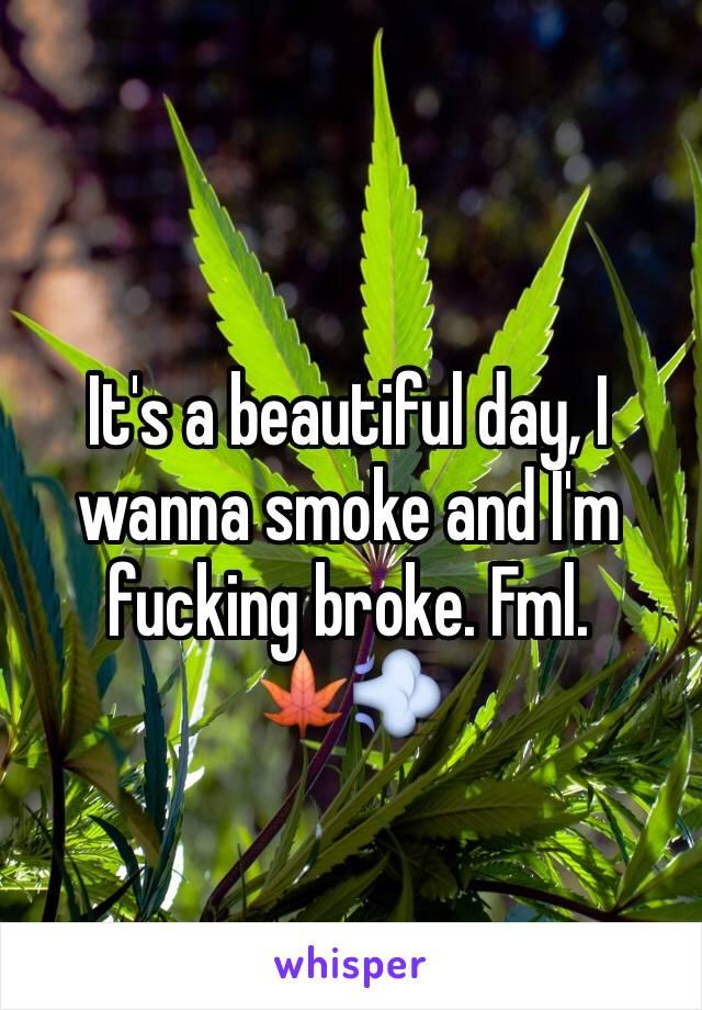 It's a beautiful day, I wanna smoke and I'm fucking broke. Fml.      🍁💨
