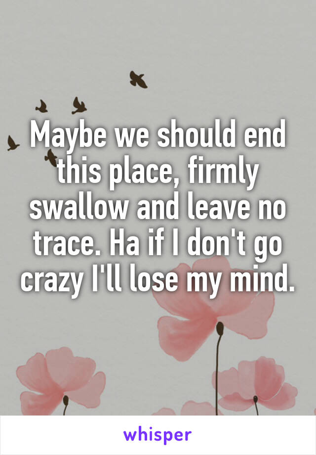 Maybe we should end this place, firmly swallow and leave no trace. Ha if I don't go crazy I'll lose my mind.