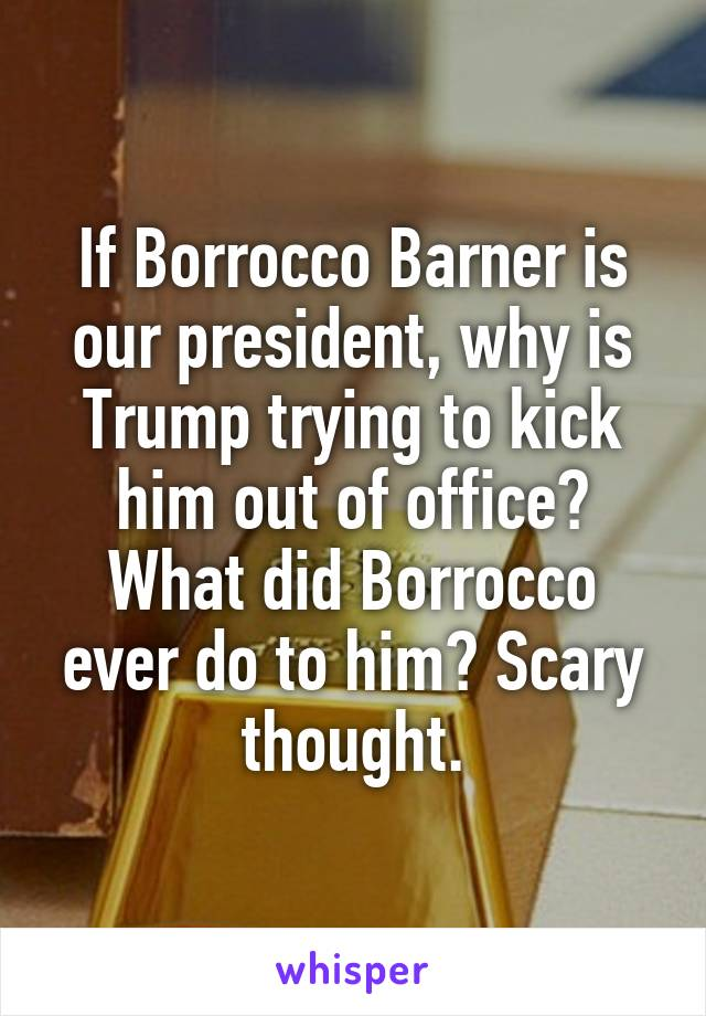 If Borrocco Barner is our president, why is Trump trying to kick him out of office? What did Borrocco ever do to him? Scary thought.