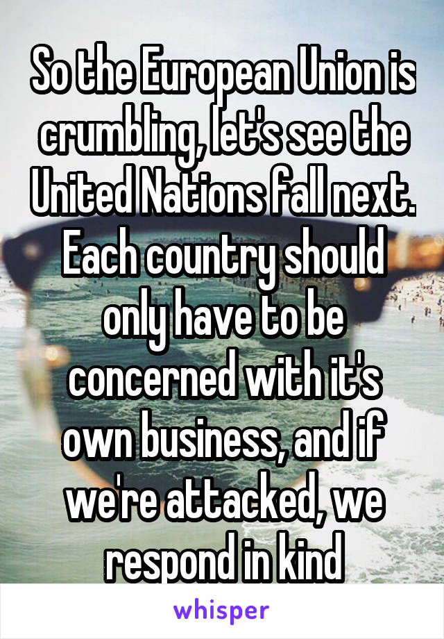 So the European Union is crumbling, let's see the United Nations fall next. Each country should only have to be concerned with it's own business, and if we're attacked, we respond in kind