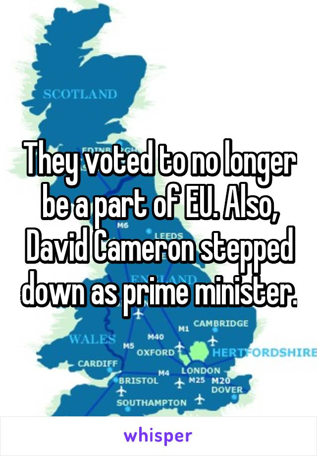 They voted to no longer be a part of EU. Also, David Cameron stepped down as prime minister.