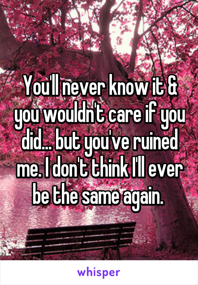 You'll never know it & you wouldn't care if you did... but you've ruined me. I don't think I'll ever be the same again.