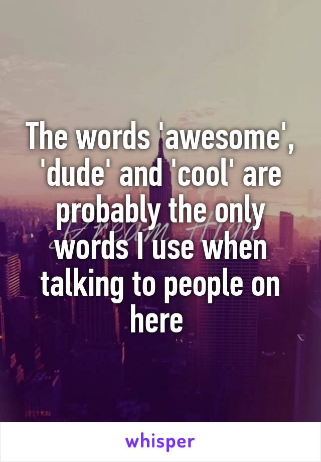 The words 'awesome', 'dude' and 'cool' are probably the only words I use when talking to people on here