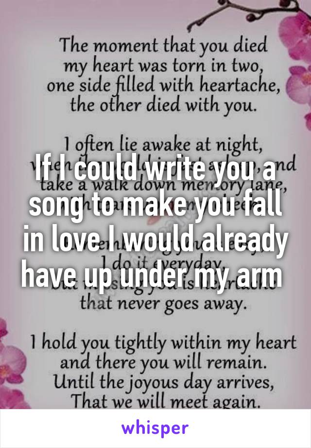 If I could write you a song to make you fall in love I would already have up under my arm