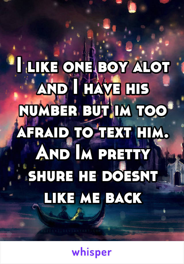 I like one boy alot and I have his number but im too afraid to text him. And Im pretty shure he doesnt like me back