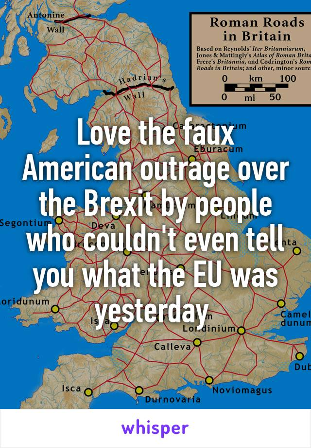 Love the faux American outrage over the Brexit by people who couldn't even tell you what the EU was yesterday