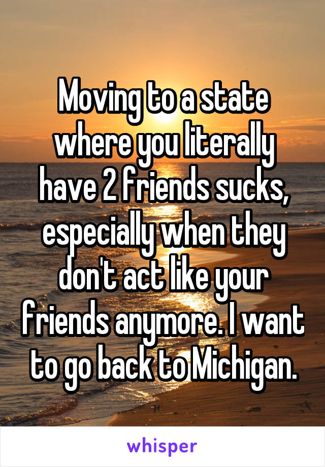 Moving to a state where you literally have 2 friends sucks, especially when they don't act like your friends anymore. I want to go back to Michigan.