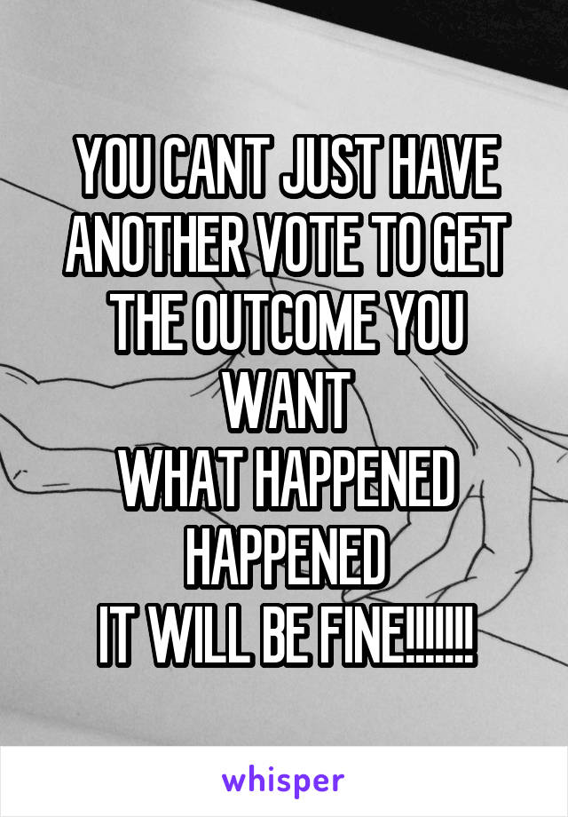 YOU CANT JUST HAVE ANOTHER VOTE TO GET THE OUTCOME YOU WANT WHAT HAPPENED HAPPENED IT WILL BE FINE!!!!!!!