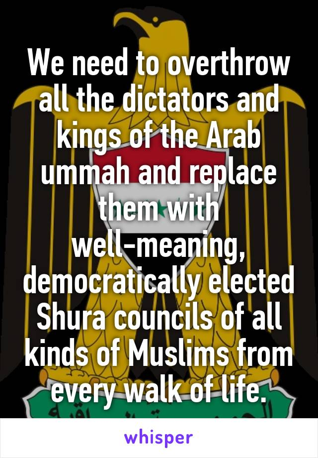 We need to overthrow all the dictators and kings of the Arab ummah and replace them with well-meaning, democratically elected Shura councils of all kinds of Muslims from every walk of life.
