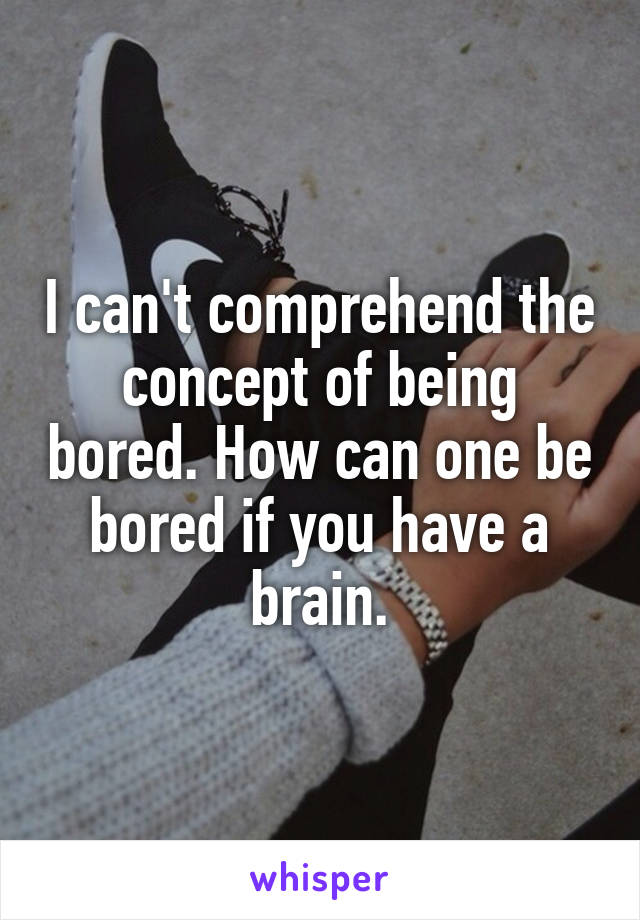I can't comprehend the concept of being bored. How can one be bored if you have a brain.