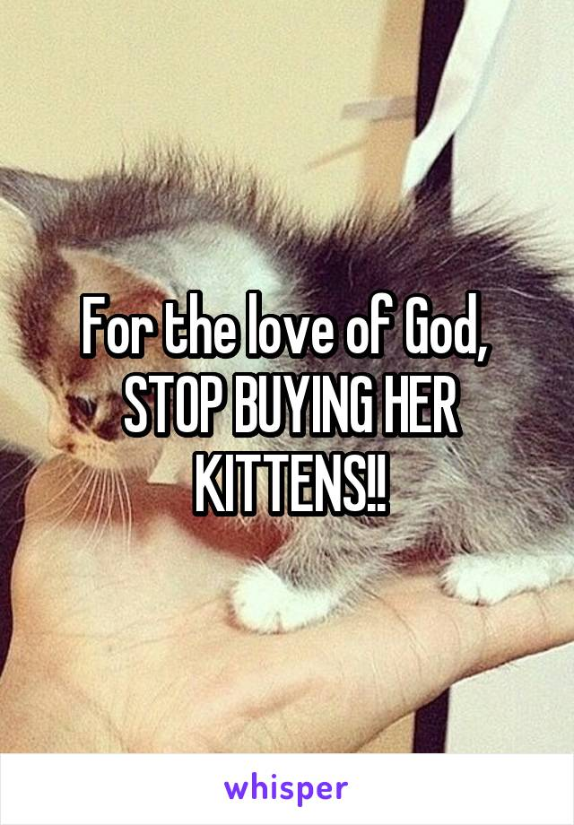 For the love of God,  STOP BUYING HER KITTENS!!