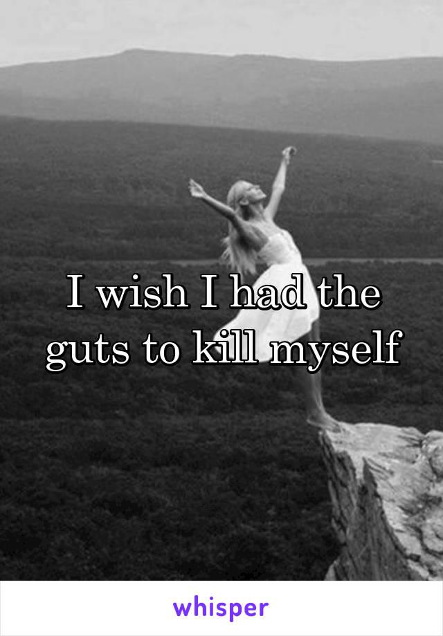 I wish I had the guts to kill myself