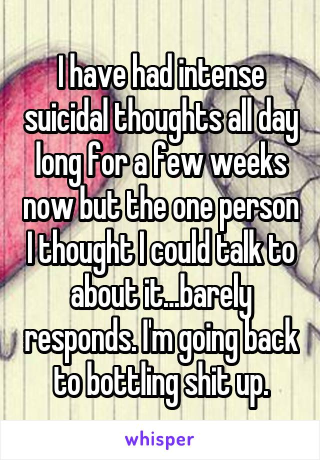 I have had intense suicidal thoughts all day long for a few weeks now but the one person I thought I could talk to about it...barely responds. I'm going back to bottling shit up.