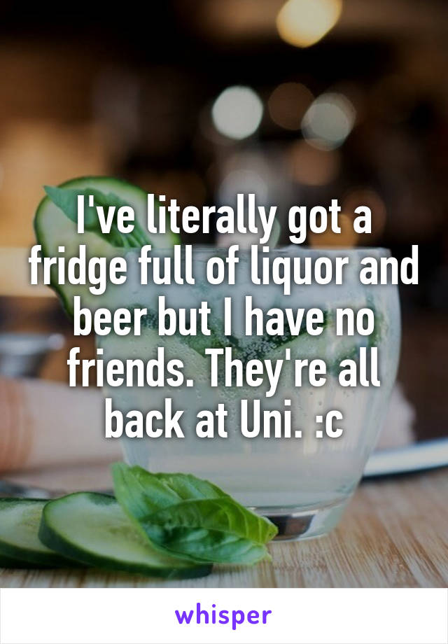 I've literally got a fridge full of liquor and beer but I have no friends. They're all back at Uni. :c