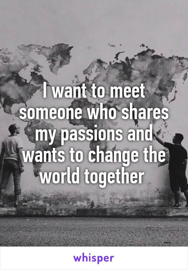 I want to meet someone who shares my passions and wants to change the world together