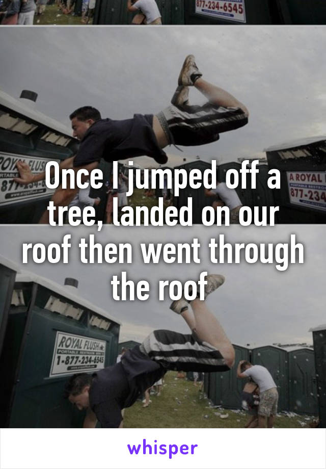 Once I jumped off a tree, landed on our roof then went through the roof
