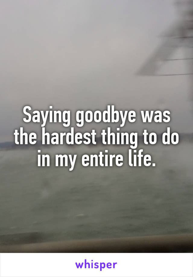 Saying goodbye was the hardest thing to do in my entire life.