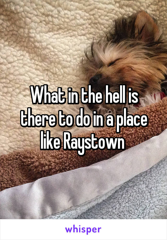 What in the hell is there to do in a place like Raystown