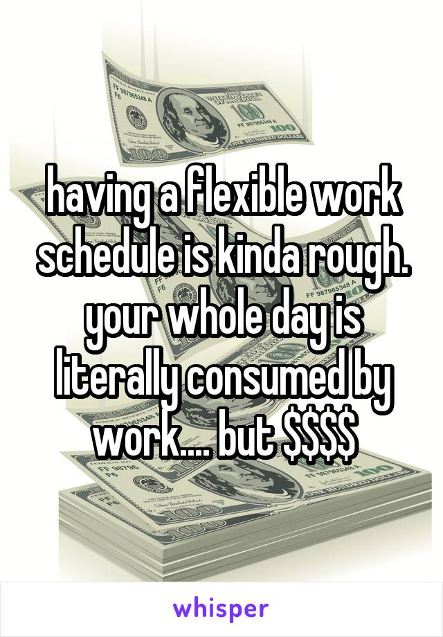 having a flexible work schedule is kinda rough. your whole day is literally consumed by work.... but $$$$