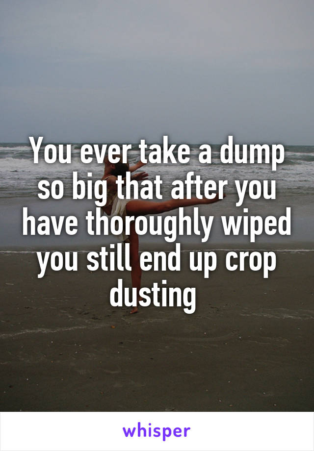 You ever take a dump so big that after you have thoroughly wiped you still end up crop dusting
