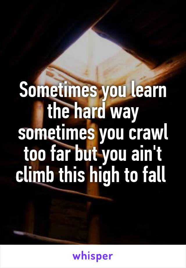 Sometimes you learn the hard way sometimes you crawl too far but you ain't climb this high to fall