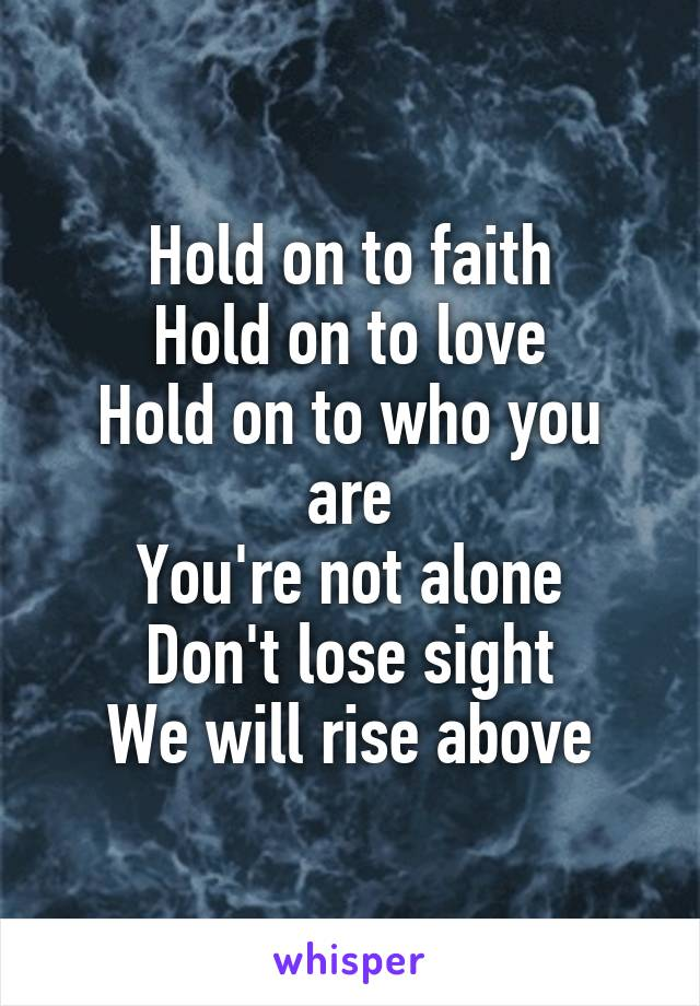 Hold on to faith Hold on to love Hold on to who you are You're not alone Don't lose sight We will rise above
