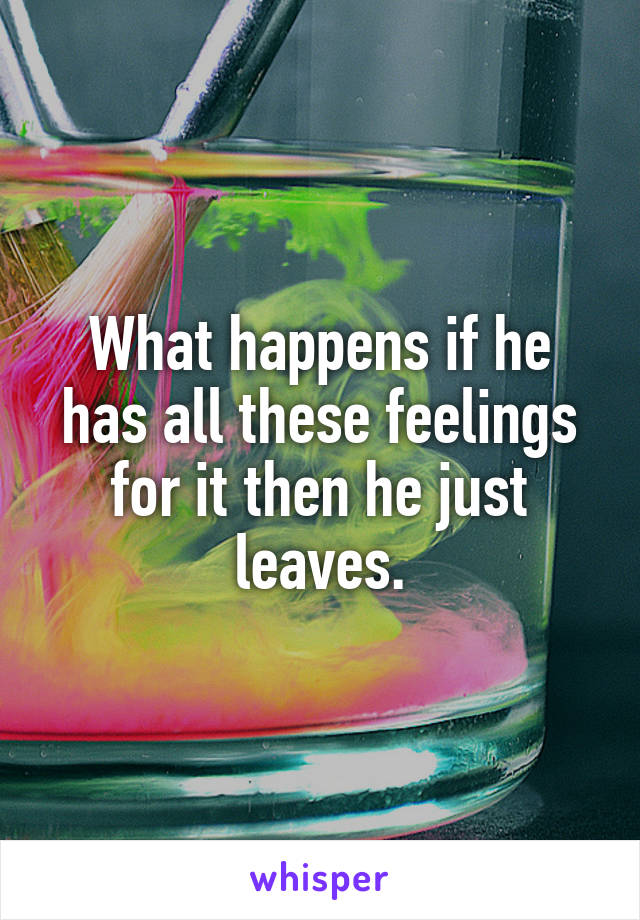What happens if he has all these feelings for it then he just leaves.