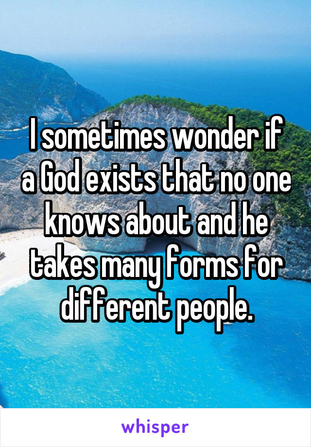 I sometimes wonder if a God exists that no one knows about and he takes many forms for different people.