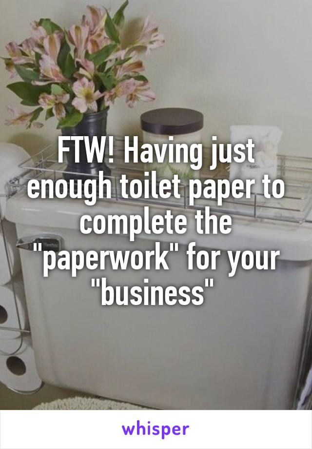 """FTW! Having just enough toilet paper to complete the """"paperwork"""" for your """"business"""""""