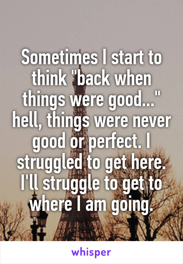 """Sometimes I start to think """"back when things were good..."""" hell, things were never good or perfect. I struggled to get here. I'll struggle to get to where I am going."""