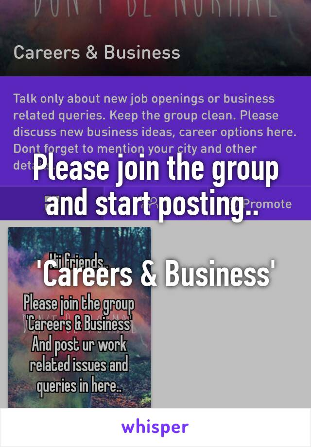 Please join the group and start posting..   'Careers & Business'