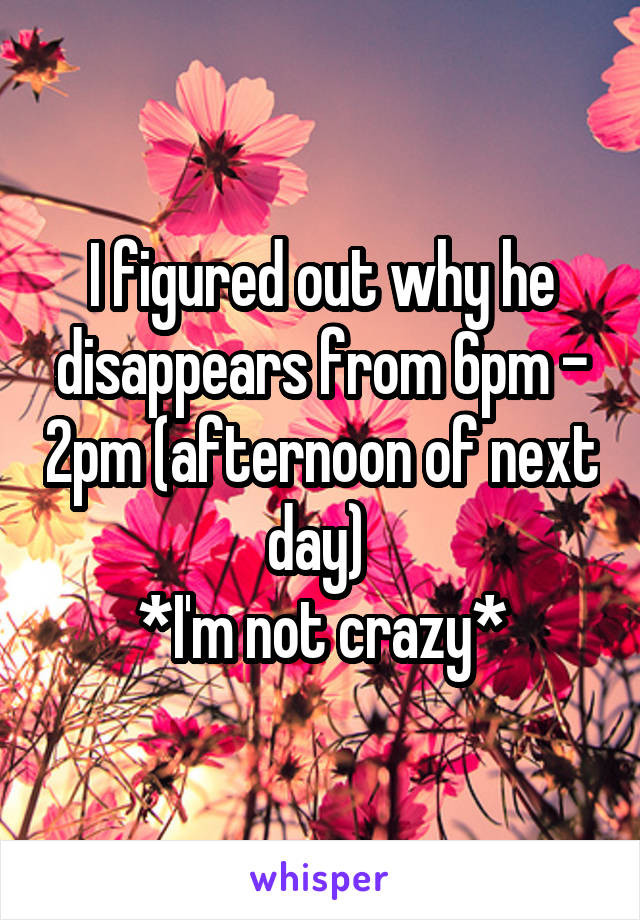I figured out why he disappears from 6pm - 2pm (afternoon of next day)  *I'm not crazy*