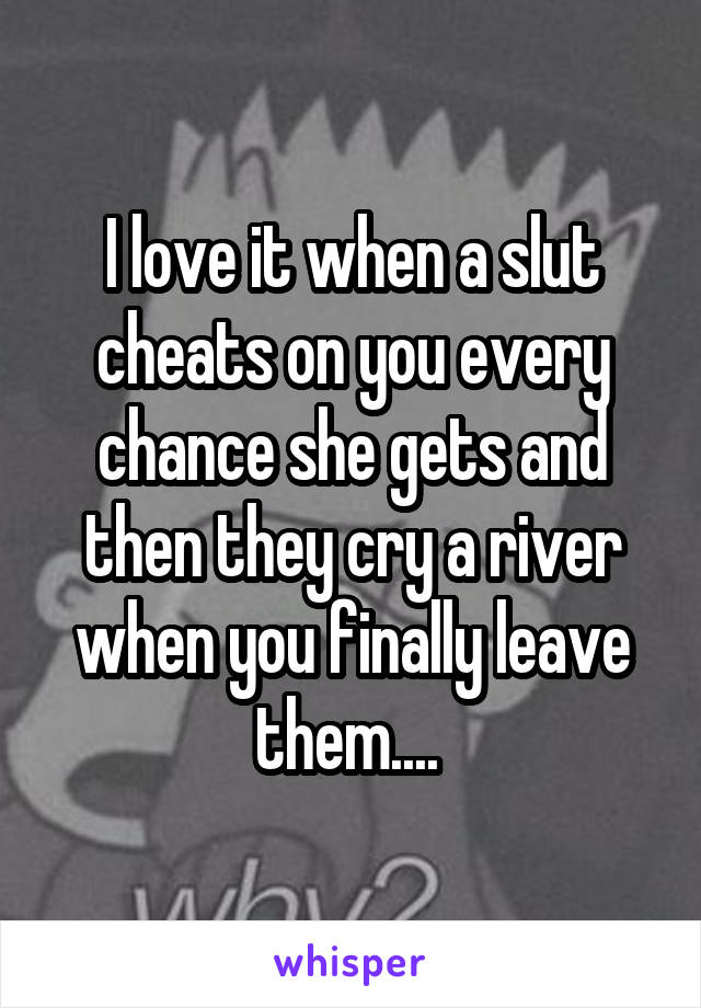 I love it when a slut cheats on you every chance she gets and then they cry a river when you finally leave them....