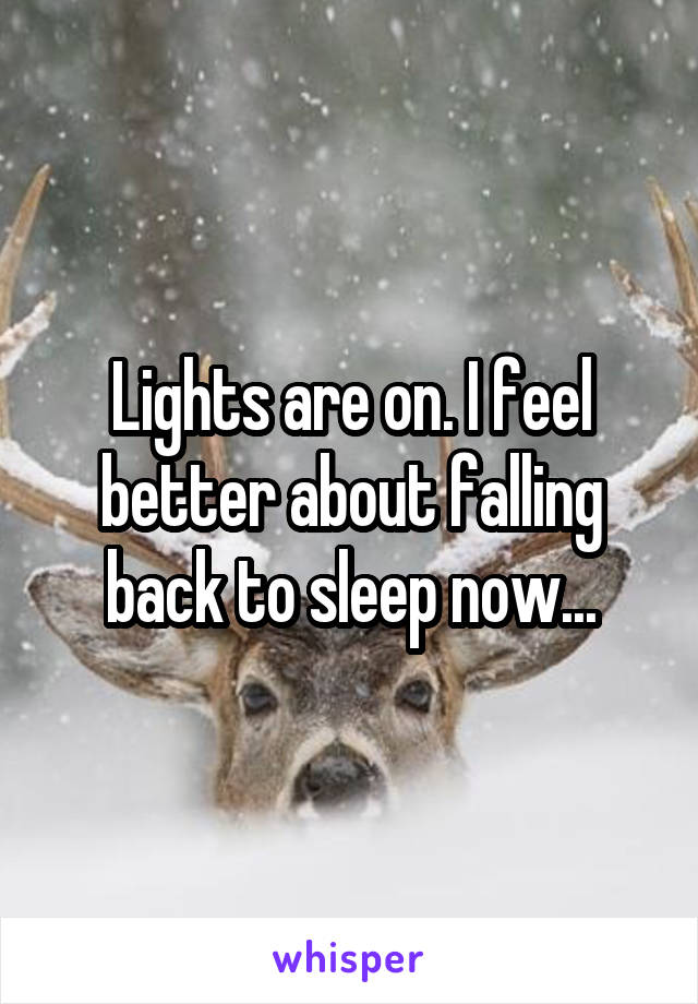 Lights are on. I feel better about falling back to sleep now...