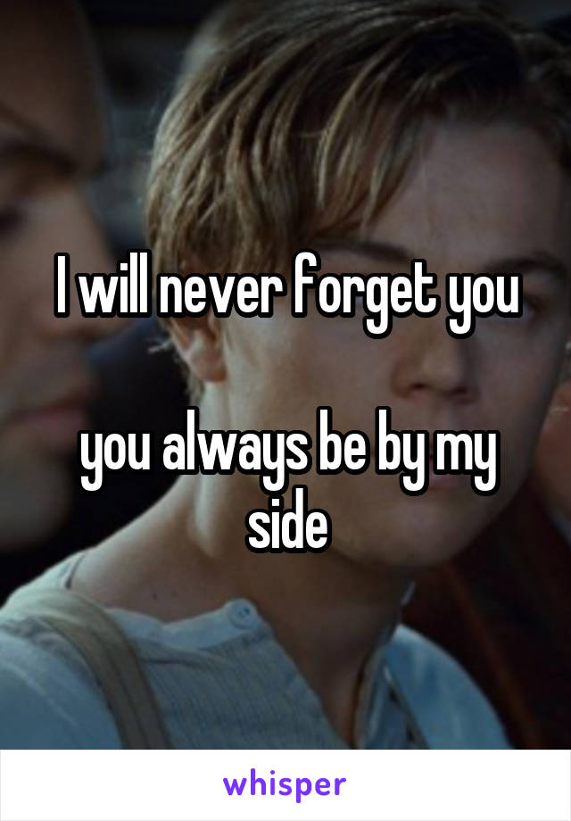 I will never forget you  you always be by my side