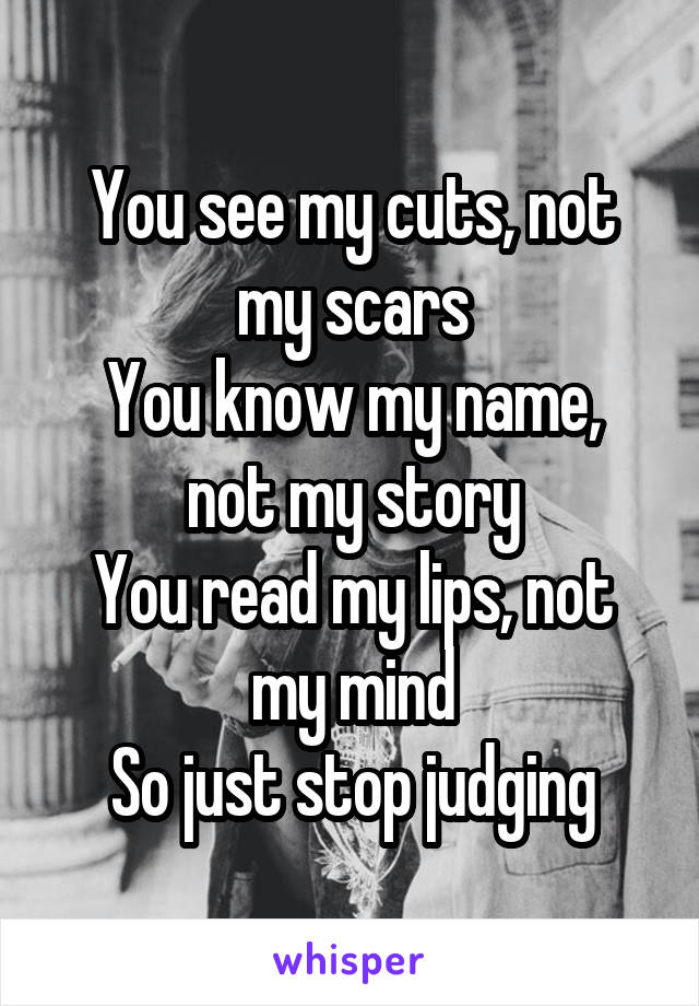 You see my cuts, not my scars You know my name, not my story You read my lips, not my mind So just stop judging