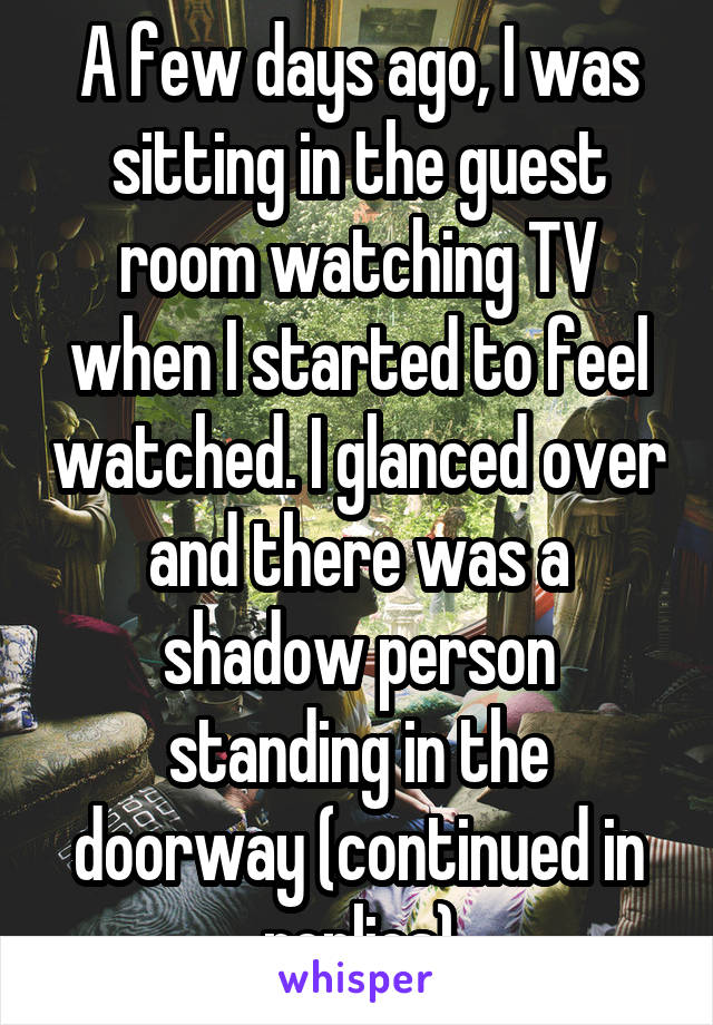 A few days ago, I was sitting in the guest room watching TV when I started to feel watched. I glanced over and there was a shadow person standing in the doorway (continued in replies)