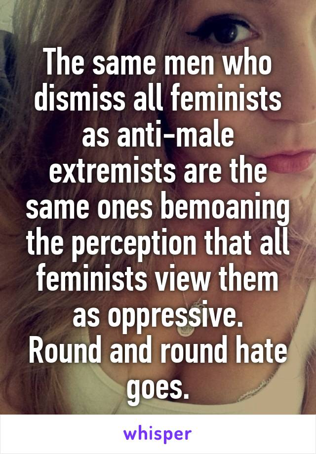 The same men who dismiss all feminists as anti-male extremists are the same ones bemoaning the perception that all feminists view them as oppressive. Round and round hate goes.