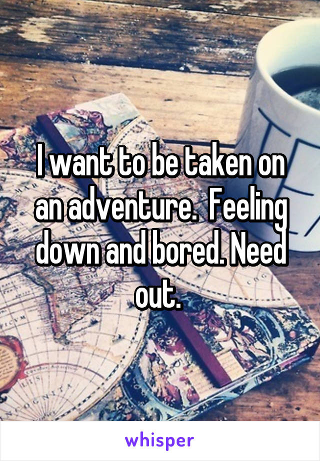 I want to be taken on an adventure.  Feeling down and bored. Need out.