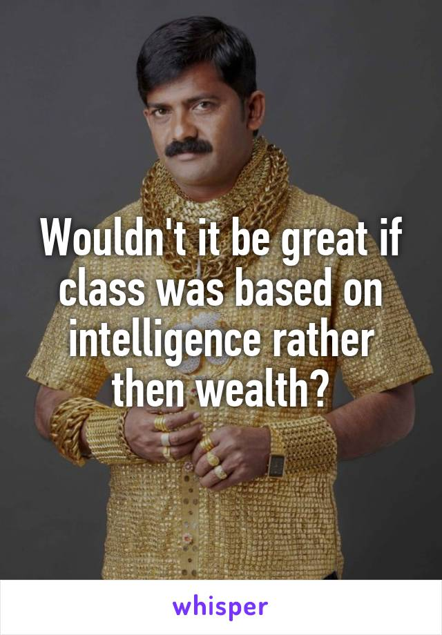 Wouldn't it be great if class was based on intelligence rather then wealth?