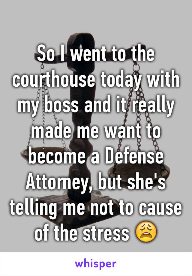 So I went to the courthouse today with my boss and it really made me want to become a Defense Attorney, but she's telling me not to cause of the stress 😩