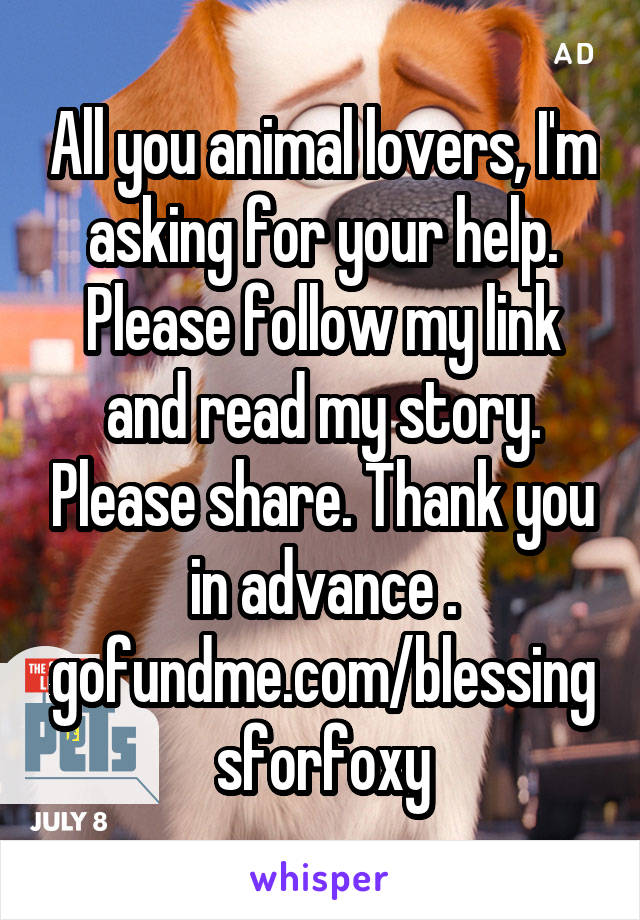 All you animal lovers, I'm asking for your help. Please follow my link and read my story. Please share. Thank you in advance . gofundme.com/blessingsforfoxy