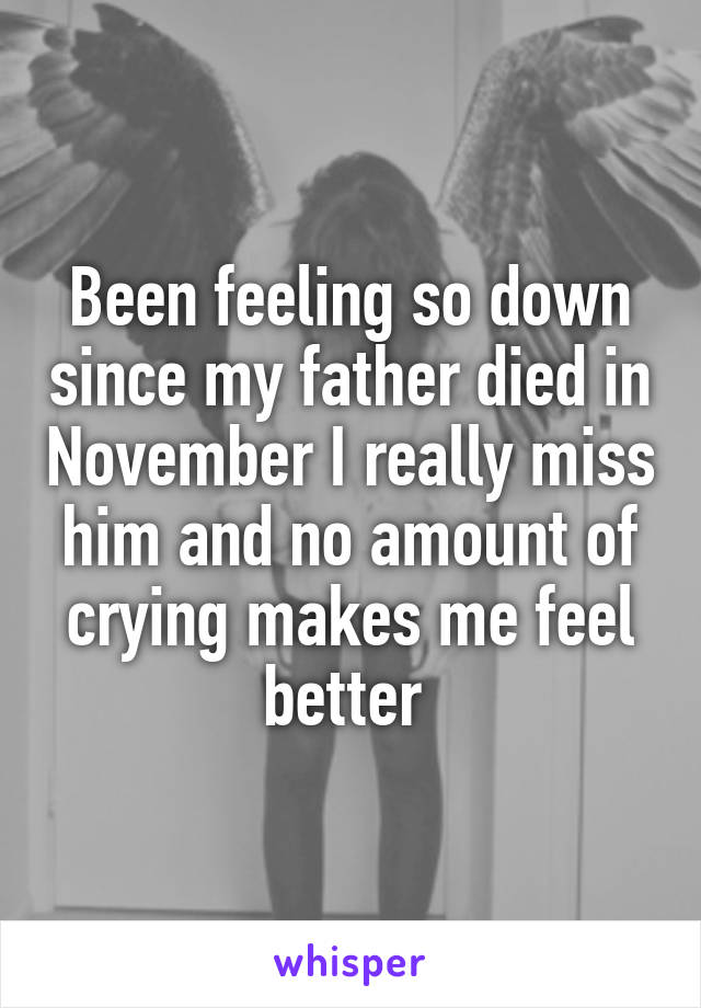 Been feeling so down since my father died in November I really miss him and no amount of crying makes me feel better