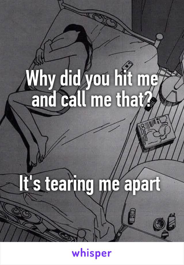Why did you hit me and call me that?    It's tearing me apart