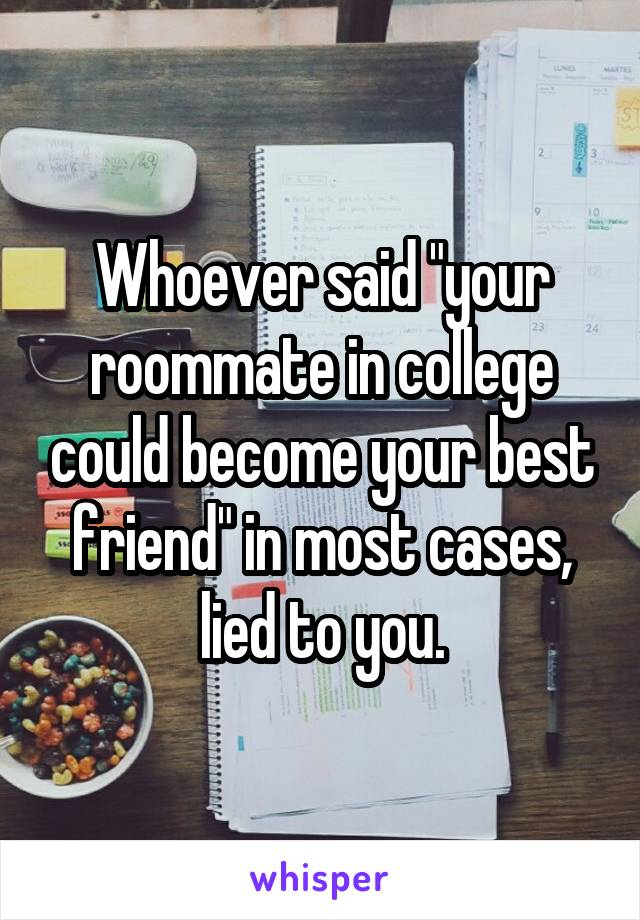 "Whoever said ""your roommate in college could become your best friend"" in most cases, lied to you."