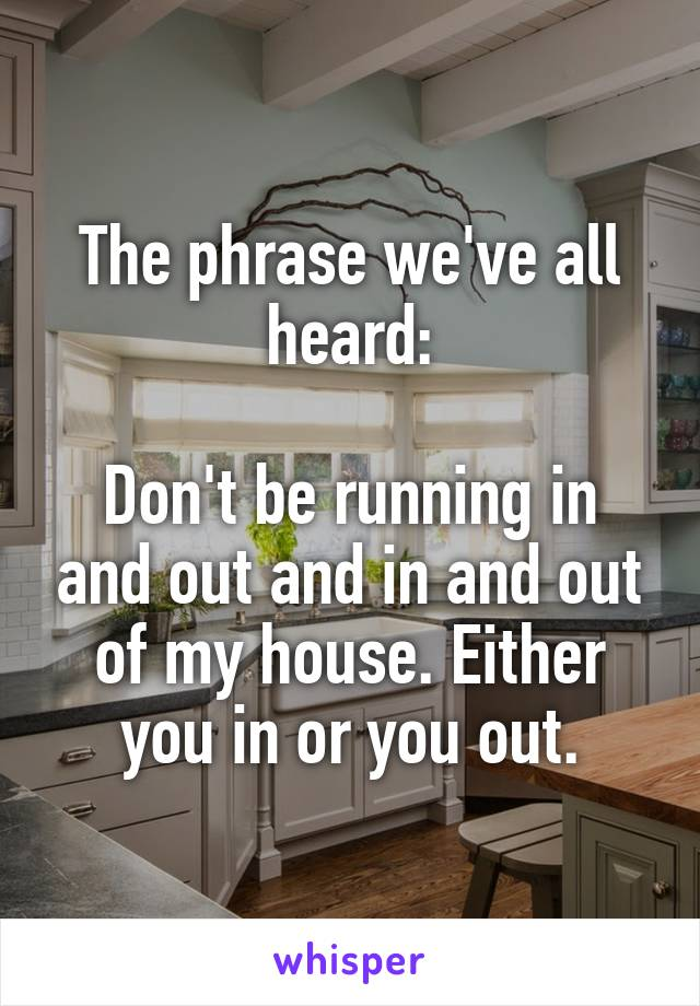 The phrase we've all heard:  Don't be running in and out and in and out of my house. Either you in or you out.