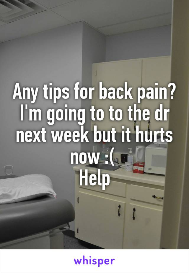 Any tips for back pain? I'm going to to the dr next week but it hurts now :(  Help
