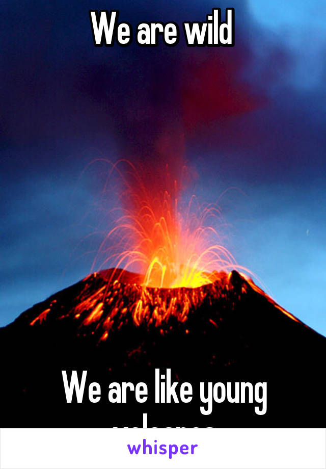 We are wild         We are like young volcanos